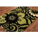 Green flower rug