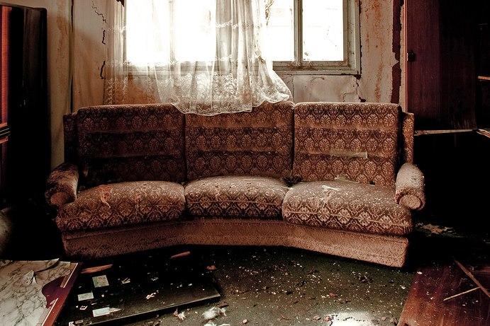 Old, tatty sofa
